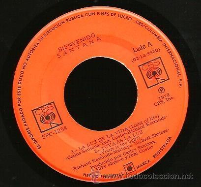 Discos de vinilo: EP SANTANA : BIENVENIDO ( LA LUZ DE LA VIDA + SAMBA DE SAUSALITO + TUYA ES LA LUZ + CUANDO MIRO A TU - Foto 3 - 40803386