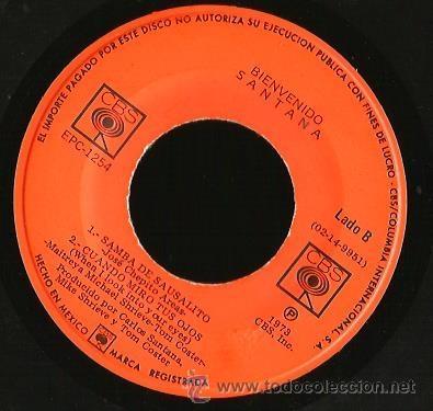 Discos de vinilo: EP SANTANA : BIENVENIDO ( LA LUZ DE LA VIDA + SAMBA DE SAUSALITO + TUYA ES LA LUZ + CUANDO MIRO A TU - Foto 4 - 40803386