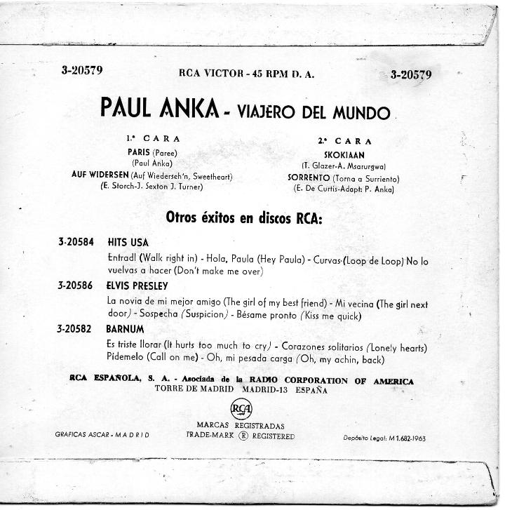 Discos de vinilo: PAUL ANKA, EP, PARIS + 3, AÑO 1963 - Foto 2 - 40803760
