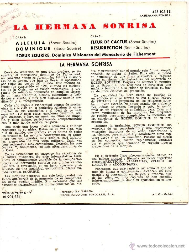 Discos de vinilo: HERMANA SONRISA, EP, DOMINIQUE + 3, AÑO 1962 - Foto 2 - 40816721