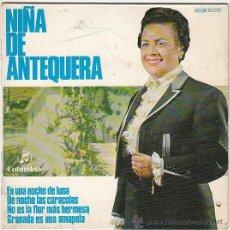 Discos de vinilo: NIÑA DE ANTEQUERA, EN UNA NOCHE DE LUNA....- SINGLE DEL SELLO COLUMBIA DEL AÑO 1.969. Lote 40825539