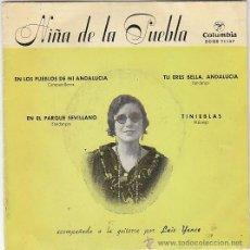 Discos de vinilo: NIÑA DE LA PUEBLA: EN LOS PUEBLOS DE ABDALUCIA/EN EL PARQUE SEVILLANO Y OTRAS COLUMBIA 1959. Lote 40825671