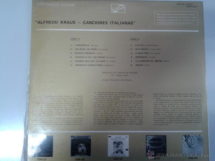 Discos de vinilo: LP DE ALFREDO KRAUS -- CANCIONES ITALIANAS - - Foto 2 - 40842619