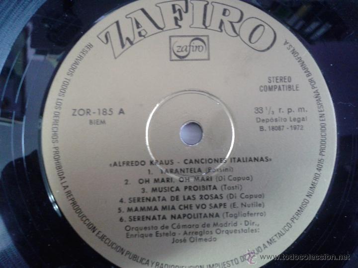 Discos de vinilo: LP DE ALFREDO KRAUS -- CANCIONES ITALIANAS - - Foto 4 - 40842619