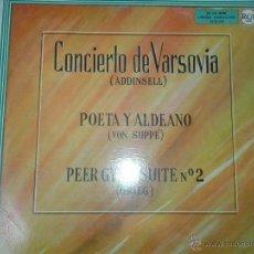 Discos de vinilo: LP- CONCIERTO DE VARSOVIA - POETA Y ALDEANO -PEER GYNT SUITE Nº 2. Lote 40842632