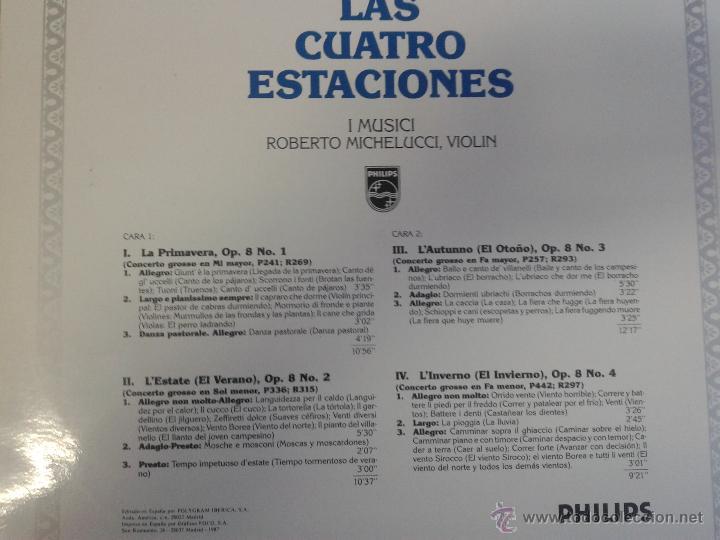 Discos de vinilo: MAGNIFICO LP DE ANTONIO VIVALDI - LAS CUATRO ESTACIONES - - Foto 2 - 40874544