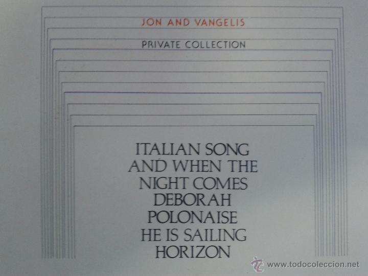Discos de vinilo: MAGNIFICO LP DE JON AND VANGELIS - PRIVATE COLLECTION - - Foto 2 - 40874642