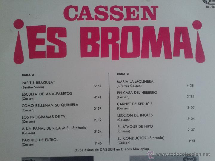 Discos de vinilo: MAGNIFICO LP DEL HUMORISTA CASSEN - EN ES BROMA - DEL AÑO 1967 - - Foto 2 - 40874837