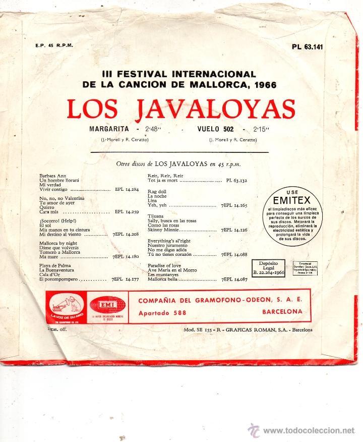 Discos de vinilo: JAVALOYAS, SG, VUELO 502 + 1, AÑO 1966 - Foto 2 - 40875571