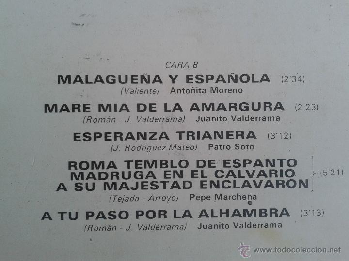 Discos de vinilo: MAGNIFICO LP DE SAETAS - ANTONIO DE CANILLAS - JUANITO VALDERRAMA - PEPE MARCHENA - - Foto 3 - 40875637