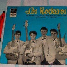 Discos de vinilo: LOS ROCKEROS E.P. EN FORMA EMI-REGAL 1965 ¡¡¡ PRIMER E.P. DEL GRUPO !!! RARA TRASERA !!!. Lote 40902154