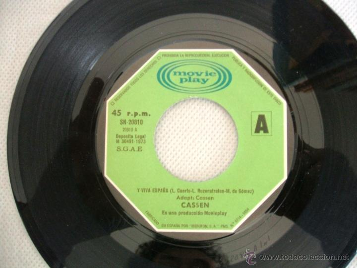 Discos de vinilo: CASSEN / Y VIVA ESPAÑA - single MOVIEPLAY SN -20.810 / AÑO 1973 - Foto 3 - 40905169
