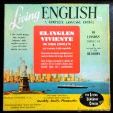 Discos de vinilo: LIVING ENGLISH, CURSO DE INGLÉS - CAJA CON 2 LIBROS + 4 MINI LP'S, AÑO 1965. Lote 40915382