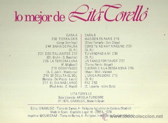 Discos de vinilo: LITA TORELLO LP SELLO GRAMUSIC AÑO 1978 - Foto 2 - 40916802