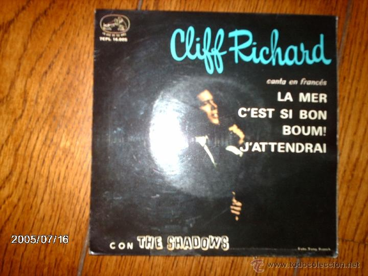 CLIFF RICHARD CON THE SHADOWS - CANTA EN FRANCÉS - LA MER + 3 (Música - Discos de Vinilo - EPs - Rock & Roll)
