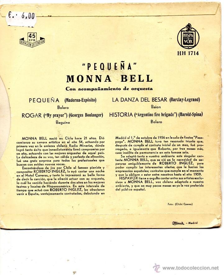 Discos de vinilo: MONNA BELL, EP, PEQUEÑA + 3, AÑO 1959 - Foto 2 - 40931925