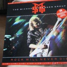 Discos de vinilo: THE MICHAEL SCHENKER GROUP ROCK WILL NEVER DIE LIVE LP. Lote 40935914