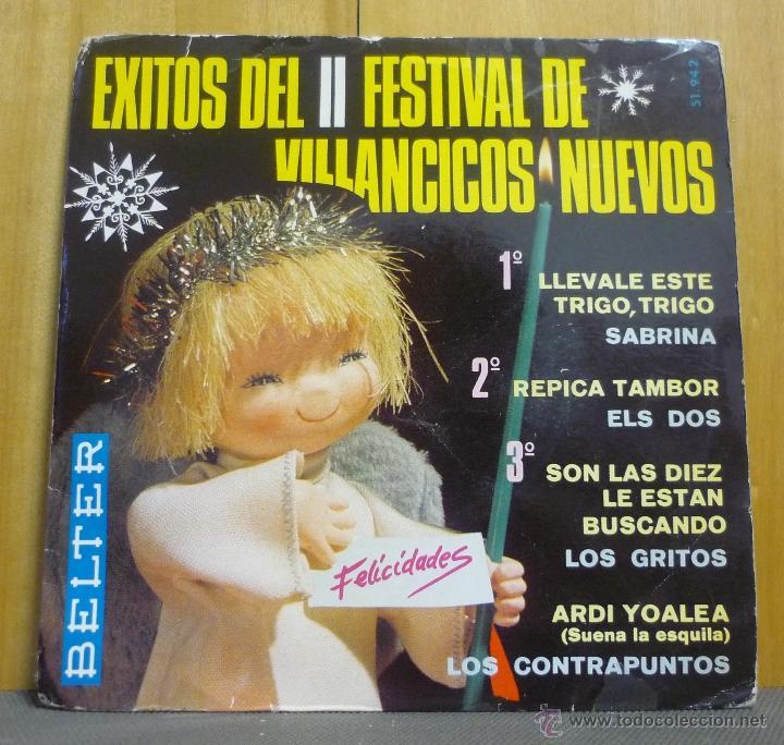 ÉXITOS DEL II FESTIVAL DE VILLANCICOS NUEVOS - SABRINA / ELS DOS / LOS GRITOS / LOS CONTRAPUNTOS -SE (Música - Discos de Vinilo - EPs - Grupos Españoles 50 y 60)