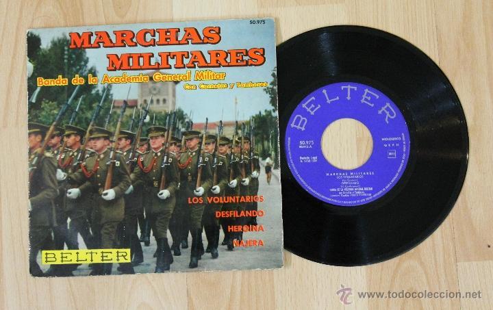 MARCHAS MILITARES BANDA DE LA ACADEMIA GENERAL MILITAR CON CORNETAS Y TAMBORES SINGLE (Música - Discos de Vinilo - EPs - Clásica, Ópera, Zarzuela y Marchas)