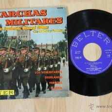 Discos de vinilo: MARCHAS MILITARES BANDA DE LA ACADEMIA GENERAL MILITAR CON CORNETAS Y TAMBORES SINGLE. Lote 57520491
