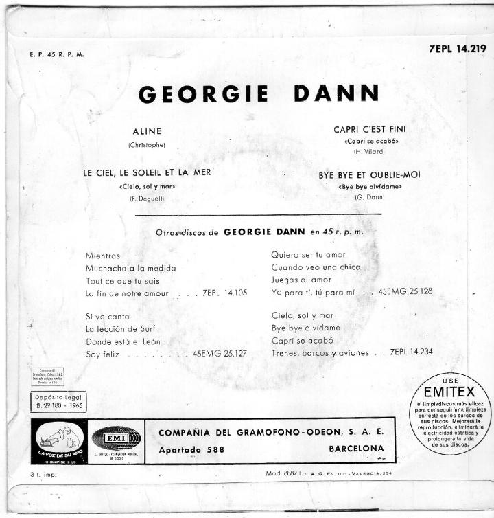 Discos de vinilo: GEORGIE DANN, EP, ALINE + 3, AÑO 1965 - Foto 2 - 40969588