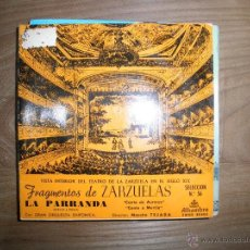 Discos de vinilo: FRAGMENTOS DE ZARZUELAS. LA PARRANDA .SELECCION Nº 56. ALHAMBRA 1960. Lote 41011573
