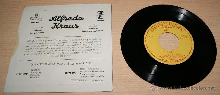 Discos de vinilo: EP Alfredo Kraus Valencia - Los Gavilanes / Valencia / Amapola / La pícara molinera - Foto 2 - 41028429