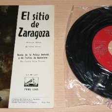 Discos de vinilo: EL SITIO DE ZARAGOZA - BANDA DE LA POLICÍA ARMADA Y DE TRAFICO DE BARCELONA - 1958. Lote 41028509