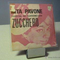Discos de vinilo: RITA PAVONE ZUCCHERO NOSTALGIA SINGLE. Lote 41058436