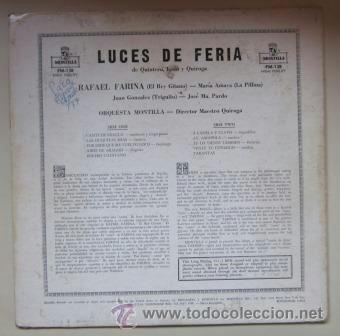 Discos de vinilo: RAFAEL FARINA - LUCES DE FERIA - MONTILLA, EDICIÓN USA - Foto 2 - 41063164
