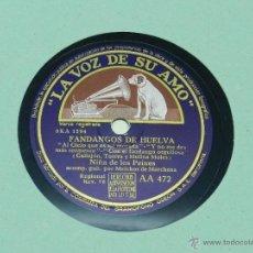 Discos de vinilo: ANTIGUO DISCO DE PIZARRA DE LA NIÑA DE LOS PEINES - FANDANGOS DE HUELVA / FIESTAS - ACOMP. GUIT. POR. Lote 41127020