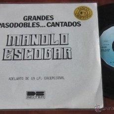 Discos de vinilo: MANOLO ESCOBAR - GRANDES PASODOBLES CANTADOS - SINGLE - RARE PROMO - EL GATO MONTES / EN EL MUNDO. Lote 41140853