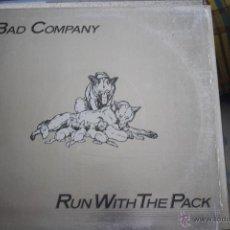 Discos de vinilo: BAD COMPANY, RUN WITH THE PACK, PORTADA PLATEADA, LP. Lote 41220834