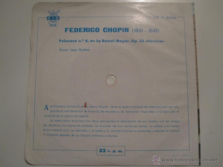 Discos de vinilo: FLEXI 33 RPM SELLO CID ESPAÑOLA- CHOPIN PIANO JEAN GUITTON- RARISIMO - Foto 3 - 41234491