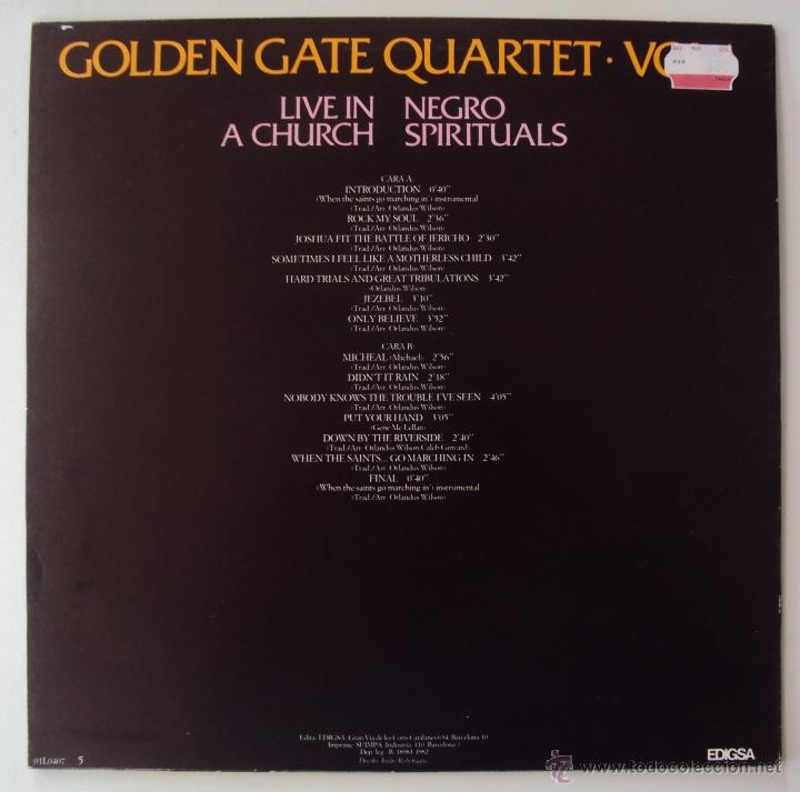 Discos de vinilo: GOLDEN GATE QUARTET: LIVE IN A CHURCH VOL 1 (ESPIRITUAL NEGRO). EDIGSA 1982. SIN ESCUCHAR - Foto 2 - 41246504