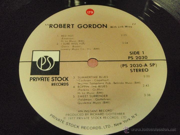 Discos de vinilo: Robert Gordon - With Link Wray USA 1977 PRIVATE STOCK - Foto 4 - 41251743