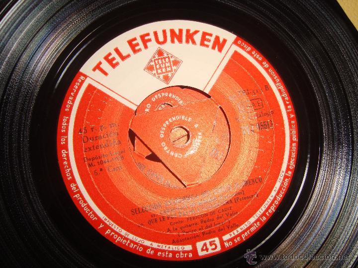 Discos de vinilo: FLAMENCO TELEFUNKEN 1958 PEDRO DEL VALLE (PERICO EL DEL LUNAR) Y PERICON DE CADIZ - Foto 2 - 41271251