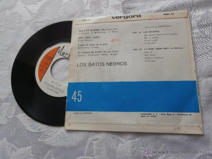Discos de vinilo: LOS GATOS NEGROS 7´EP ELLA TE QUIERE + PARA TI (cover spanish BEATLES) + 2 TEMAS (1964) - Foto 4 - 41289236