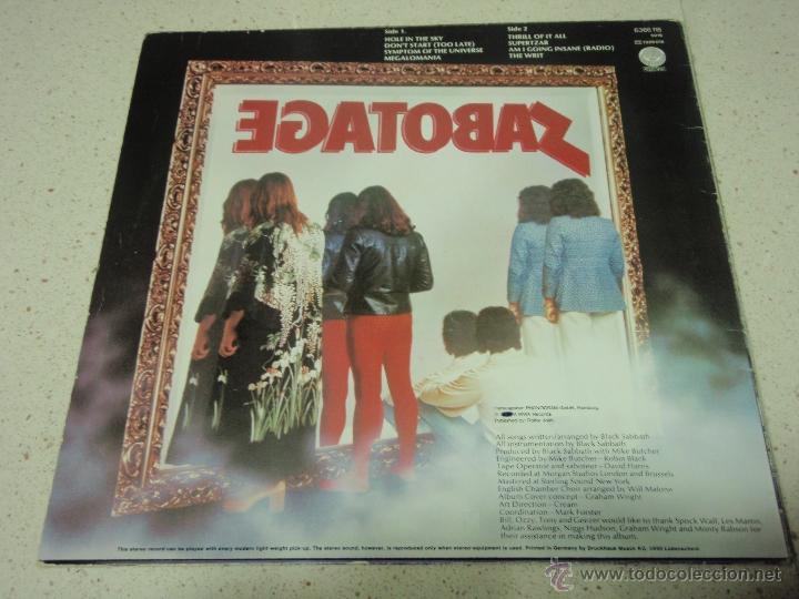 Discos de vinilo: BLACK SABBATH - SABOTAGE 1º975- GERMANY LP VERTIGO - Foto 2 - 57715546