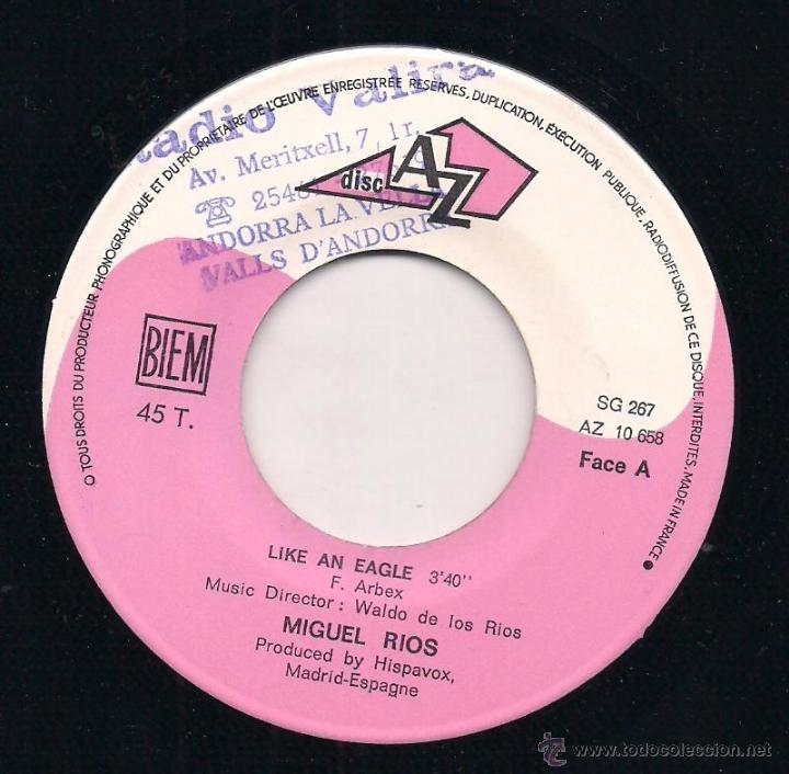 Discos de vinilo: Miguel Rios like an eagles. Disc AZ edicion francesa - Foto 2 - 41399082