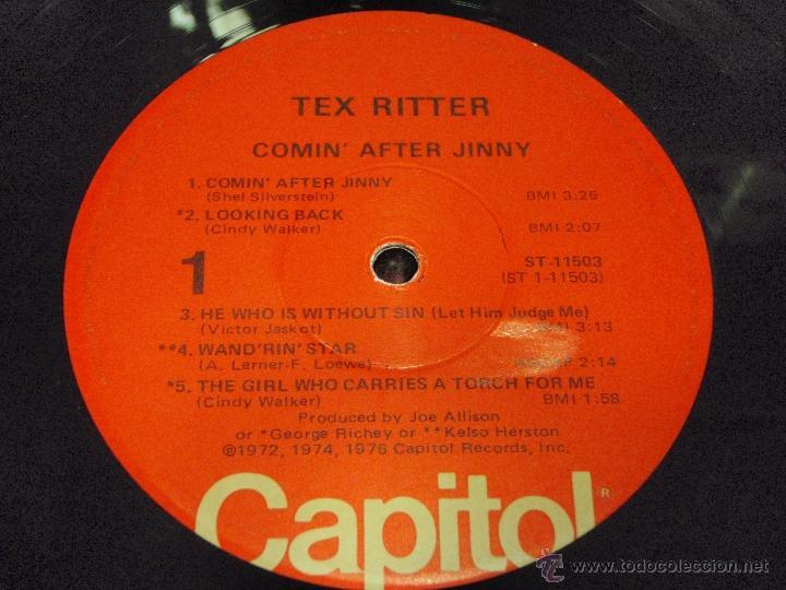 Discos de vinilo: Tex Ritter – Comin After Jinny USA 1976 Capitol Records - Foto 5 - 41479988