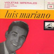 Discos de vinilo: LUIS MARIANO, EP, VIOLETAS IMPERIALES + 3, AÑO 1958. Lote 41499570