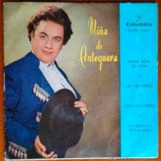 Discos de vinilo: NIÑA DE ANTEQUERA - MARÍA ROSA DE LEÓN, AY MI PERRO, LLEGÓ EL FLORERO, VILLANCICOS DE CALAÑAS - EP. Lote 41527486