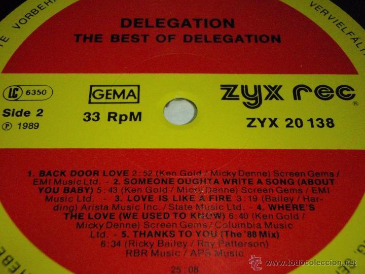Discos de vinilo: DELEGATION - THE BEST OF DELEGATION 1989 - GERMANY LP ZYX RECORDS - Foto 4 - 41557131