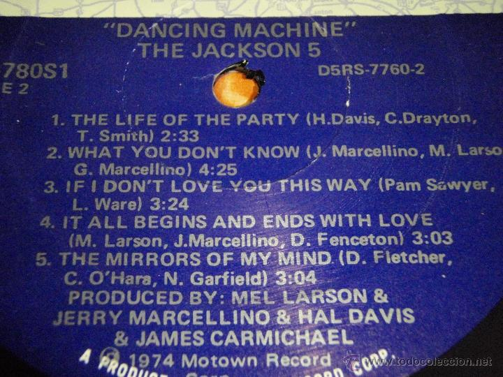 Discos de vinilo: THE JACKSON 5 - DANCING MACHINE CALIFORNIA-USA 1974 LP MOTOWN RECORDS - Foto 4 - 41559670