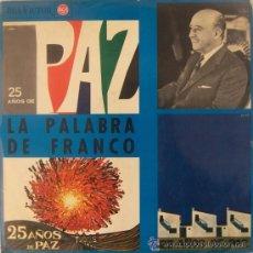 Discos de vinilo: LA PALABRA DE FRANCO // 25 AÑOS DE PAZ // DOCUMENTO HISTORICO . Lote 41594560