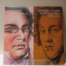 Discos de vinilo: VINILO SCHUBERT-MENDELSSOHN. LEONARD BERSTEIN FILARMONICA DE NUEVA YORK. CBS 1981. Lote 41666419