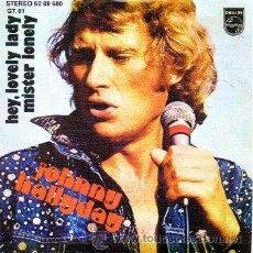 Discos de vinilo: JOHNNY HALLYDAY 7' SG HEY, LOVELY LADY + MISTER LONELY (SOLO VINILO, SIN PORTADA). Lote 41668634