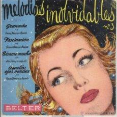 Discos de vinilo: HILDA, SHAW, DORSEY. MELODIAS INOLVIDABLES 3, OJOS VERDES, GRANADA, BESAME MUCHO . BELTER 1959. EP. Lote 41680731
