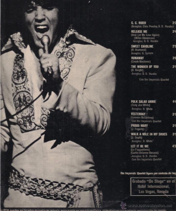 Discos de vinilo: Elvis Presley. On Stage February 1970. RCA Victor 1970 España - Foto 2 - 41692291